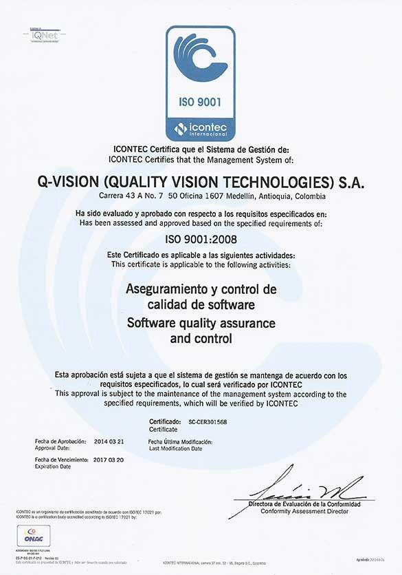 Certificación ISO 9001-2 Q-Vision