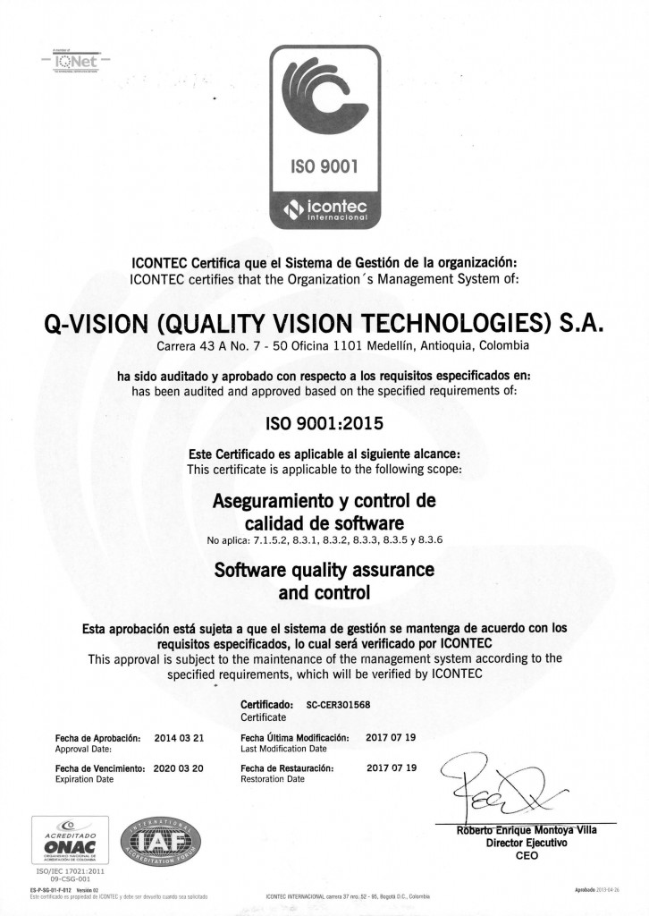 Certificado ICONTEC 900-2015